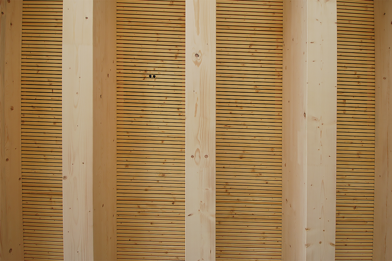 Sichtbare Balkenlage mit Akustikelement