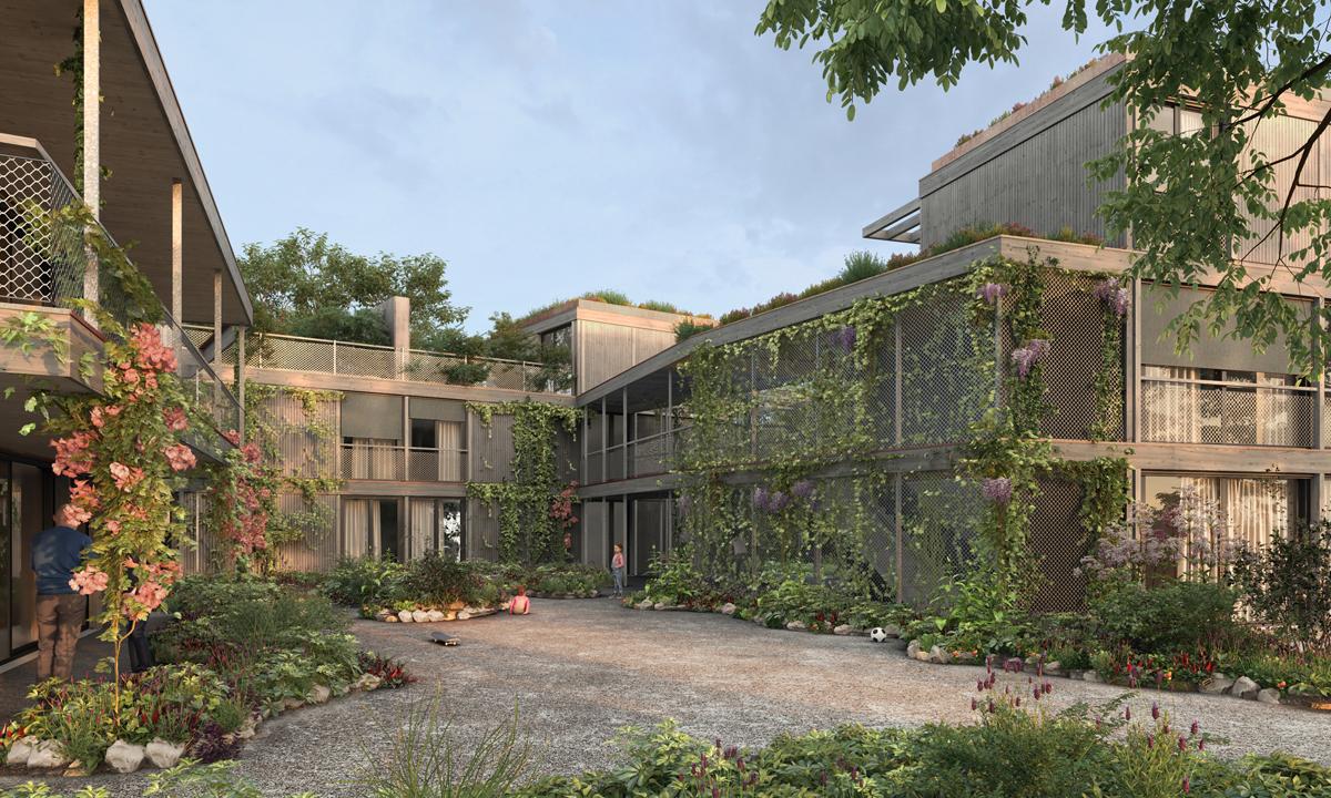 Neubau Wohnsiedlung in den Bäumen, Egg